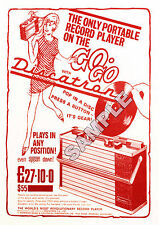 Northern Soul - Rare 'Discatron' Portable Record Player Repro' A4 Advert