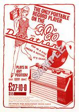 Northern Soul - Rare 'Discatron' Portable Record Player Repro' A4 Advert