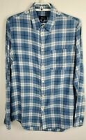 Men's A.P.C Blue White Plaid Shirt Long Sleeve Buttons Up Size Medium