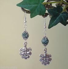 Green Man Tree Agate Gemstone Dangly Earrings - Wicca Pagan Celtic