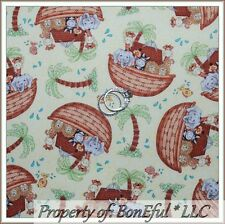 BonEful FABRIC Cotton Quilt Yellow Noah Ark Nursery Animal Baby Girl Boy L SCRAP