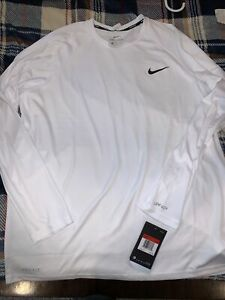 NWT Nike Swim Dri-Fit Hydroguard Men's Large White L/S Shirt NESSA587-100 UPF40+