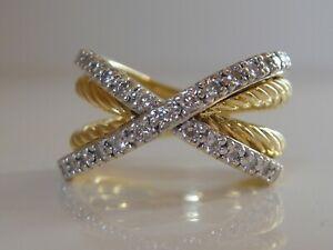 $5450 DAVID YURMAN 18K GOLD CROSSOVER DIAMOND RING
