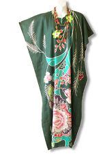 Green Women Floral Plus Size Caftan Kaftan Tunic Hippy Abaya Dress - M, L & XL