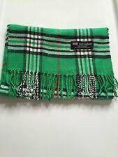 100% Cashmere Made In Scotland Winter Warm Scarf Scarve Green White Black Plaid