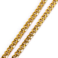 18K Gold Plated Stainless Steel Curb Cuban Link Chain Men's Necklace 7mm lobster