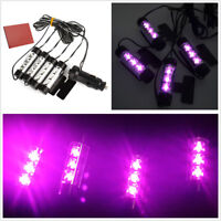 4 x 3 LED Purple Pink Car Charge DC 12V Atmosphere Lamp Decorative Light Styling