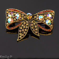 Antique Gold Tone Bow Brooch Diamante AB Crystal Pin Badge