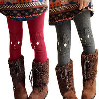 Kids Baby Girls Winter Warm Fleece Rabbit Pants Thermal  Leggings Trousers Thick