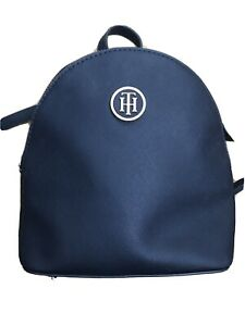 Tommy Hilfiger Ladies Navy Backpack with Gold hardware and back pocket