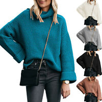 Womens Winter Funnel Neck Jumper Knitted High Roll Neck Baggy Chunky Sweater Top