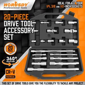 "20 PCS Extension Bar Set 1/4"" 3/8"" 1/2"" Drive Socket Extension Set Joint Adaptor"