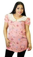 Pink Plus Size Short Sleeve Floral Leaves PeterPan Collar Rockabilly Vintage New