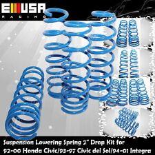 Lowering Springs Set fit Honda 92-00 Civic 93-97 Del Sol 94-01 Integra BLUE