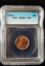 1972 1C RD Lincoln Memorial penny ICG MS67+ Red low pop ☆ Blazing Red Beauty