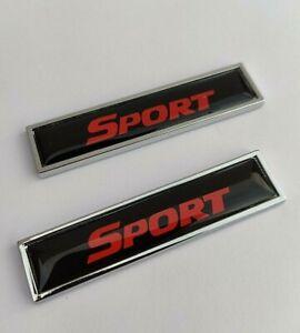 2 X Sport Noir Rouge Métal Chrome Badges pour Nissan Qashqai + 2 Juke X - Trail