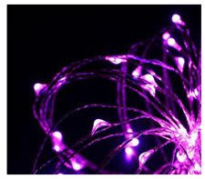 60 Battery Operated Led Purple Cluster Halloween Lights Decoration