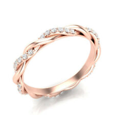 0.72 Ct Round Cut Diamond Engagement Eternity Band 14K Rose Gold Ring 8 6 5.5 7