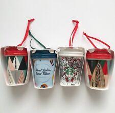 New 2017 STARBUCKS Christmas Ornaments Tumblers Michigan Lot Of 4 Ceramic