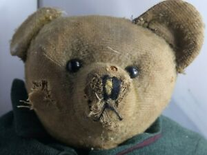 VERY OLD JOINTED TEDDY BEAR WITH LARGE HUMP BACK NEEDS LOVING HOME & RESTORATION