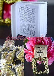 6PC Baptism Mini Bibles Favors Keychains Party Communion Recuerdos de Bautizo