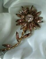 Vintage Light Amethyst Claw Set Glass Flower Gold Tone Costume Brooch Pin
