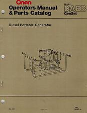 ONAN DAEB DIESEL PORTABLE  GENERATOR  OPERATOR'S PARTS MANUAL 1980  923-0301
