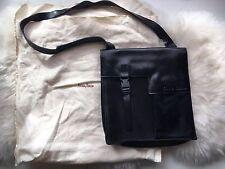 MIU MIU Black Leather Calf Hair Velcro Buckle Crossbody Bag Purse Neiman Marcus