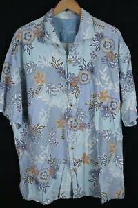 Tommy Bahama Mens sz XXL Blue 100% Silk Floral Short Sleeve Button up Shirt