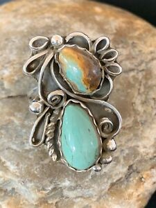 Perfect Gift Navajo Turquoise Sterling Silver Ring Set 10.5 Platero 3230 Sale
