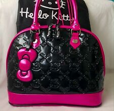 NWOT Loungefly Hello Kitty Ex Large Black & Pink Embossed Patent Dome Handbag