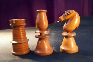 Antique 19C c1860 Hand-Carved Box Wood Chess Pieces. White Rook/ Bishop/ Knight