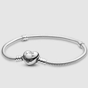 Original PANDORA Moments Sterling Silver Heart Clasp Snake Chain Bracelet 19cm