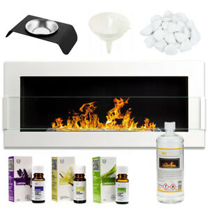 BIO FIREPLACE 900x400 WHITE DESIGN ECO TAMPERED GLASS + ACCESSORIES