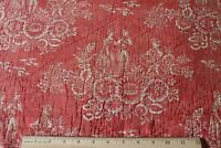 "Antique 18thC Resist Printed Turkey Red Cotton Toile Fabric~L-55"" X W-22"""