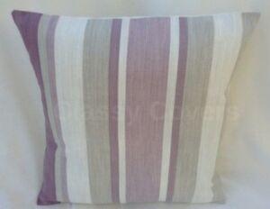 "Laura Ashley Designer Cushion Cover ""AWNING STRIPE"" Grape Various Sizes"