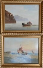 Fishing boats Yorkshire Coast. PAIR Oils listed artist Edward King Redmore c1920