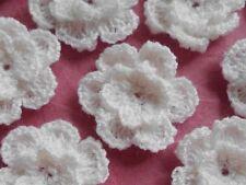 100! Double Crochet Wool Flowers  - Lovely White Flower Applique Embellishments