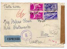STORIA POSTALE 1953 REP. 4 VALORI SU BUSTA EX DIRETTA A VIENNA NAPOLI19/5 D/8754