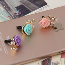 2pcs Rose Flower 3D Crystal Bead Pearl Anti Dust Plug Charms For 3.5mm Phone IB