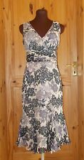 TED BAKER beige black grey mauve floral SILK chiffon v neck party dress 8 10 2
