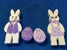 4 Pc Wooden Rabbits And Easter Eggs