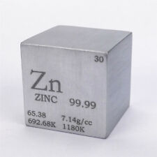 1 inch 25.4mm Pure Zinc Metal Cube 117grams 99.99% Engraved Periodic Table