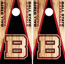 Ball State Cardinals Cornhole Wrap NCAA Logo Game Skin Decal Vinyl Set CO967