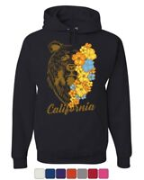California Bear with Flowers Hoodie Wildlife Grizzly Cali Ca Sweatshirt