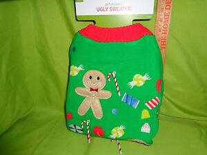 PUPPY DOG UGLY Christmas Sweater XL Gingerbread Men WITH CANDY CANES EXTRA LARGE