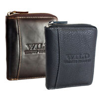 Rfid Men's Leather Wallet for Men Briefcase Zip