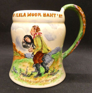 "Crown Devon Fieldings Musical Tankard  ""On Ilkla Moor Baht 'at"""