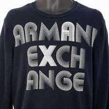 Armani Exchange Mens Sweater Vtg 90s Crew Neck Spell Out AX Black Size Medium