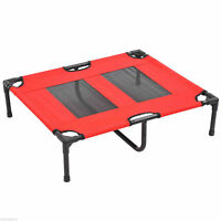 Elevated Pet Dog Bed Cat Cot Sleeper Cooling Portable Indoor Outdoor Red